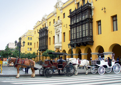 LIMA, PERU - Today the historic section of Lima has been repainted much as it was in the 1800s.