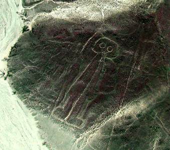 "NAZCA LINES - There are more than 70 ""biomorphs"" (animal and plant figures) and 900 geoglyphs (geometric forms) that make up the Nazca lines.  But none perhaps is stranger than this one - dubbed ""The Astronaut"" - that can be seen on a hillside.  There are many theories for the purpose of these lines - one of the most recent is that they related to ancient water supplies - but no one theory has been proven."
