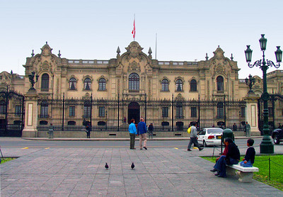 LIMA, PERU - Pizarro didn't have much time to enjoy his new city.  His former residence was built where the Palacio de Gobierno (Government Palace) stands today.  But in 1541, he was assassinated - not by revengeful Incas, but by rival Spaniards.  The present building was completed in 1938.
