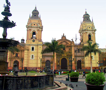 "LIMA, PERU - Peru is largely a country of two cultures: Inca and Spanish.  We began our visit in Lima in La Plaza Mayor where in 1535 the Spanish conquistador Francisco Pizarro whipped out his sword and christened his new capital Ciudad de los Reyes, the ""City of Kings.""  Today the Catedral stands on the site; the present building dates to the 18th century."