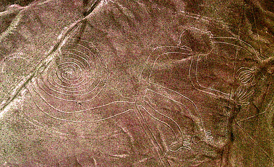 NAZCA LINES - Most of the figures - like the monkey - span several hundred meters and are recognizable only from the air.  They were discovered in 1927 when a pilot flying over the area reported strange figures on the desert floor.