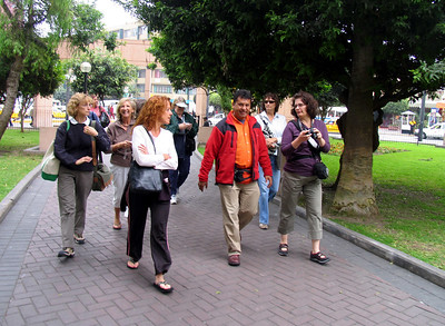 "LIMA, PERU - Our tour leader was Alvaro de Olave (""just call me 'Al'"").  His first task was to lead us to lunch.  Note that there are 12 women in our group (and two men)."