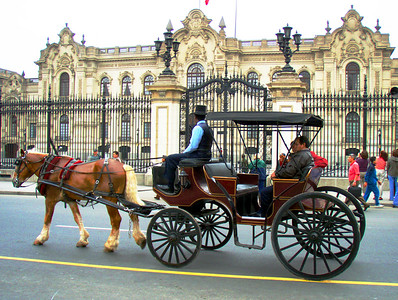 LIMA, PERU - A carriage ride through colonial Lima.