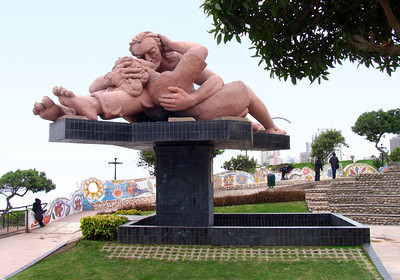 "LIMA, PERU - Lima has several urban parks but none is quite like the Parque del Amor, literally ""Love Park.""  Its centerpiece is this sculpture, apparently an imitation of the Parque Guell in Barcelona."