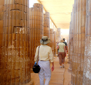 SAQQARA - Through the narrow entrance, we made our way to the Step Pyramid through a colonnade of 20 pairs of stone columns, carved to imitate huge bundles of reeds (which archaeologists now believe the ancient Egyptians used to strengthen the corners of their mudbrick homes).