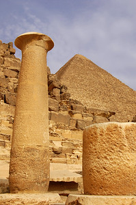 GIZA PLATEAU - The round columns that was once part of Pharaoh's Khafre's mortuary temple seemed oddly out of place among the angular pyramids.