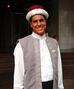 MENA HOUSE, CAIRO - The uniforms of the hotel staff - especially the doorman who cheerfully greeted us each morning - are also a blend of Egyptian and Turkish designs.
