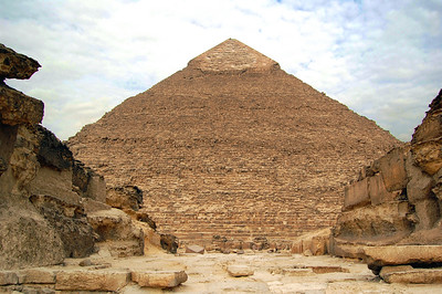 HARD ACT TO FOLLOW - Khufu's son Khafre was next in the pharaonic line and built the second of Giza's great pyramids – the one in the middle – completing it around 2532 BC.  He pulled a fast one on his old man.  By locating his pyramid on a slightly elevated portion of the plateau, he made it appear larger than the Great Pyramid. In fact, it is smaller in both height and volume.  It is also the only one at Giza that retains some of topmost layer of smooth casing stones.