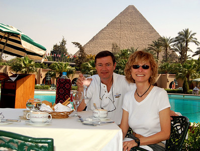 MENA HOUSE, CAIRO - What a way to start our trip!  Breakfast in Virginia, lunch in Cairo.  Just 28 hours in between.  But here we were - sipping soup in the shadow of the Pyramids.  Our first hotel in Cairo was the Mena House, arguably one of the most historic in all of Egypt.