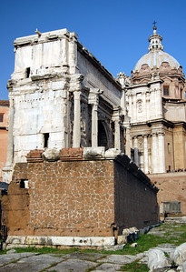 "ANCIENT ROME - Often overlooked by many who walk through the Forum, this squat, unassuming brick structure was the symbol of Roman freedom.  This was the Rostrum (Rostra in Latin), the ""Speaker's Corner.""  Once decorated with the prows of captured ships (""rostra""), this is where Rome's orators addressed the populace.  Here is where Mark Antony rose at Julius Caesar's funeral to utter ""Friends, Romans, countryman...."" (actually, those were the words of Shakespeare, not Antony)."