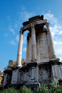 ANCIENT ROME - The remains of the Temple of Vesta:  this was Rome's most sacred spot.  Inside a fire burned, tended by priestesses known as the Vestal Virgins.  If the fire went out, so the Romans thought, Rome would likewise be extinguished.