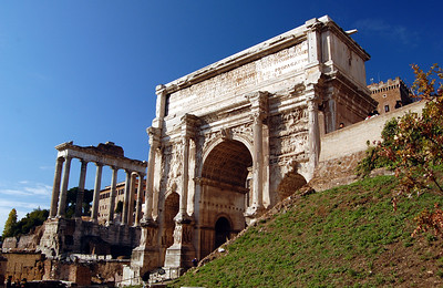 ANCIENT ROME - Another of the grand arches that remain in the Forum (there are three).  This one - the Arch of Septimius Severus - commemorates the African-born emperor's battles in Mesopotamia.  At the time it was erected in AD 206, the Roman empire was beginning to show its first signs of decay.