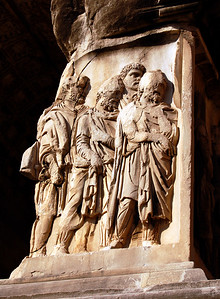 ANCIENT ROME - Nonetheless, a carved relief on the Arch of Septimius Severus depicts soldiers marching captured barbarians back to Rome for a triumphal parade.  But it wouldn't be long before escalating attacks by the barbarians would take their toll, and Rome would begin to crumble.