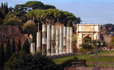 ANCIENT ROME - To reach the Forum, we passed first alongside a row of massive columns - the ruins of a temple perhaps, or a colonnaded street.