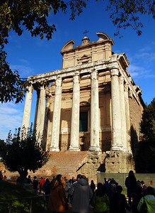 ANCIENT ROME - Dominating this portion of the Forum is the Temple of Emperor Antoninus Pius (AD 138-161) and his beloved wife Faustina.  The 50-foot tall Corinthian columns mark the portico of the actual Roman temple - the main building inside was subsequently converted into a church.