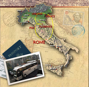 "AN INTRODUCTORY TOUR - We would visit the most common sights seen by the nearly 6 million tourists who travel to Italy each year.  The first week would be coordinated by the GATE 1 travel agency and would take us and 40 other travelers by bus from Rome through the northern parts of the country.  Then, returning to Rome, Jeanne and I would stay another three days exploring ""the Eternal City"" on our own."