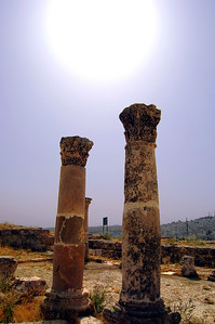AMMAN - The ruins atop Jebel al-Qala'a reveal key historical eras in Amman's many lives.  Just a few hundred feet away from the Temple of Hercules we came upon these elegant Corinthian columns.  They mark the location of a small Byzantine Basilica thought to date from the 6th or 7th century AD.