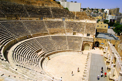 AMMAN - The Roman Theater is clearly the most impressive structure in the city - and probably has been for most of its 1800+ years of existence.  Its 33 rows once seated 6000 spectators.