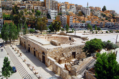 AMMAN - Adjacent to the amphitheater is the Odeon, a small theater that dates back to the late 2nd century AD.  Now partially restored, it is still used occasionally for concerts.