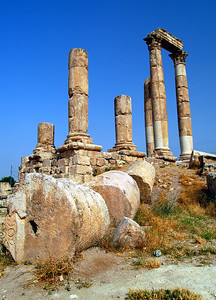 AMMAN - The ancient Citadel Hill is where Amman began some 5000 years ago.  Towering above the city is the Roman Temple of Hercules, its columns silhouetted against the sky.  Today it is also known as the Great Temple of Amman. It was built in the reign of the Emperor Marcus Aurelius (161-180 AD).