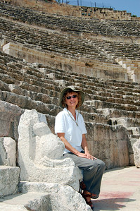 AMMAN - While exploring the Roman Amphitheater, Jeanne took a front row seat in the VIP section.