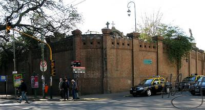 View of the wall surrounding Recoleta Cemetery where Eva Duarte Peron ( EVITA) is buried.