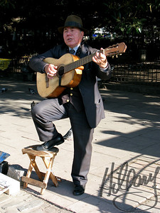 A sidewalk musician