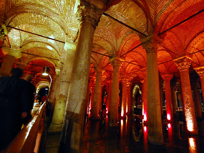ISTANBUL - Strangely, the existence of the Basilica Cistern had been lost to history by the time the Ottomans came to power, even though residents had sunk wells into it and routinely drew their drinking water from it. Then in 1544 a French scholar Pierre Gilles came to Istanbul to study Byzantine ruins.  During his search for ancient structures, by chance he entered a small house where there was a way down to the massive cistern.  The Frenchman and the Turkish homeowner lit torches and explored the subterranean reservoir in a skiff, rowing amidst the watery forest of pillars.