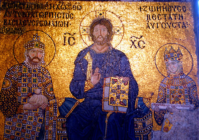 ISTANBUL - Among the Hagia Sophia's mosaics is one of Christ flanked by Emperor Constantine IX and his wife Zoe.  The fickle queen had three husbands and replaced the head on the mosaic with each remarriage.