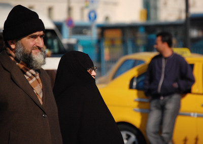 ISTANBUL - Cultural complexity permeates the city.  Muslims make up 98% of the population, and we saw many chadors, veils and burkas.  Still, the headscarf - which many see as a symbol of growing Islamic influence in political matters - remains a highly sensitive issue in Turkey.