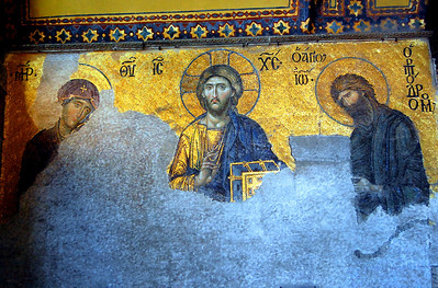 ISTANBUL - Among the priceless treasures of the Hagia Sophia are exquisite mosaics along the upper walls dating back more than 1400 years to the Roman and Byzantine eras.  Because Islam forbids the the portrayal of human figures inside a house of prayer, when the Hagia Sophia was converted to a mosque, the Muslims plastered over them (rather than destroying them).  This farsighted act protected the mosaics for the ensuing centuries.