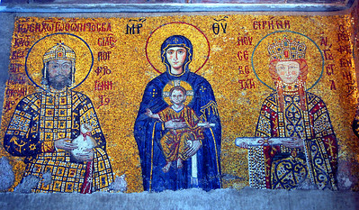 ISTANBUL - This mosaic depicts the Virgin Mary holding the Christ-child, Emperor John II Comnenus (1118-1143), and his wife, Empress Eirene.