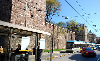 ISTANBUL - Throughout the city, the past was fused with the present.  Here the city's ultra-modern tram passes in front of walls built in the 6th century.