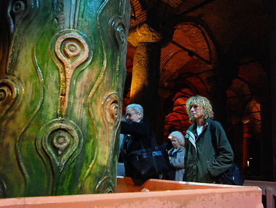 """ISTANBUL - The variety of designs for the columns supporting the ceiling of the Basilica Cistern almost certainly means that the supports were collected from ancient buildings.  This column seemed to have a plethora of """"evil eyes"""" but its actual name is the """"Peacock-eyed"""" column."""""""