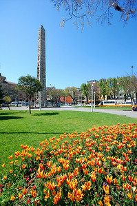 ISTANBUL - At the far end of the former Hippodrome stands another obelisk. Built in the 10th century by the Emperor Constantine Porphyrogenitus, it was originally covered with gilded bronze plates, but they were stripped off by the Fourth Crusaders when they sacked the city in 1204 AD.  Other monuments that once decorated the Hippodrome are also long gone, such as four famous cast-bronze horses from ancient Greece. During the Fourth Crusade, these were plundered and taken to Venice...where they're still on display in St. Mark's Basilica.