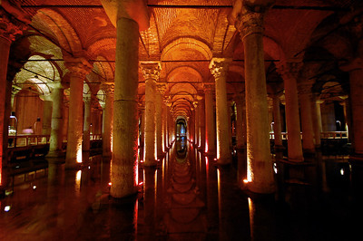 """ISTANBUL - All that water had to go somewhere, and the engineers of 6th century Constantinople had an ingenious concept - massive underground cisterns.  Beneath the core of the old city is by far the largest in the city, the size of two football fields, with 336 columns arrayed in 12 rows. Because it was built on the site of an earlier basilica, it's called the """"Basilica Cistern."""" Turks call it yerebatan saraya, which means """"sunken palace."""""""