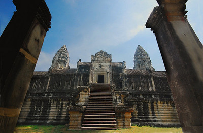 ANGKOR WAT - ACT III:  Now, with anticipation mounting with each step, the curtain rises on Act III - the Ascent.  Angkor Wat is approached by a series of stone stairways and platforms.  For the ancient Hindus, these represented the next stage of their journey, the walk across the hills and valleys of the continents.