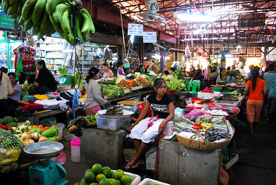 Evidence of Siem Reap's split personality can be seen in the local market...