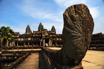 We knew we were getting closer to the most sacred area of Angkor Wat when we came upon the weathered figures of nine-headed nagas, the sacred snake in Hindu and Buddhist culture.