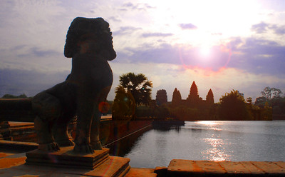 ANGKOR WAT: ACT I - Approaching Angkor Wat is like attending the theater for a 4-act classic play.  First, as the sun rises behind the temple, there is Act I - a walk down the first causeway spanning a 600-foot wide moat....