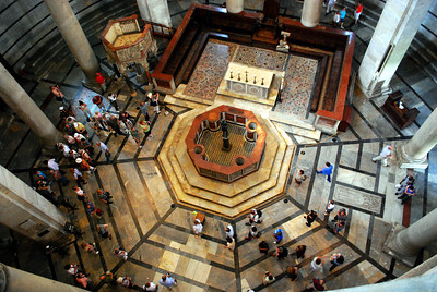...an impressive, if somewhat acrophobic, view back down on the baptismal font.