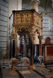 The Baptistery's pulpit was carved by Nicola Pisano, the father of Giovanni (who carved the pulpit of the Cathedral).  Some scholars belief it is the first sculpture of the Renaissance.  Its detail, however, pales in comparison to the work of Giovanni next door.