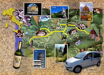 Our hotel was in Montecatini Terme, roughly midway between Pisa and Florence.  From this base, our objective was to revisit two cities from our past trip (Pisa and Florence),explore several small Tuscan villages, and sample as many Italian wines as possible.