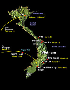 Our flights would take us first to Bangkok where we would overnight before taking departing the next day for Hanoi.  From there we would work our way down the country by bus and plane.