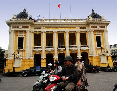 "The ""grand dame"" of the city's French architectural legacy - the Hanoi Opera House - often seems strangled by the buzzing swarm of traffic  that constantly encircles it."