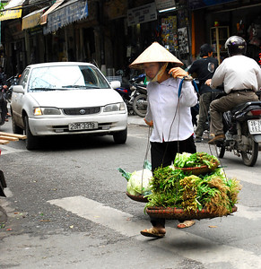Still, amid the frenzied chaos of Hanoi's traffic, we would see market women arriving from the countryside lugging their produce in large baskets attached to wooden shoulder yokes.