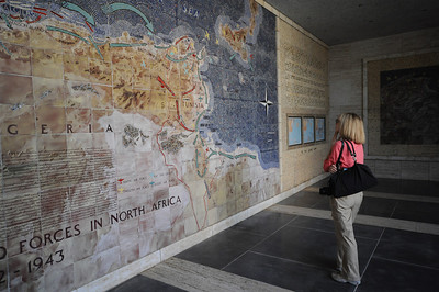 In an open air portico, a map of ceramic tiles depicts American military operations in North Africa.  Coincidentally – or perhaps not – the Allies followed almost exactly the same path across North Africa as the Vandals had 1500 years earlier.