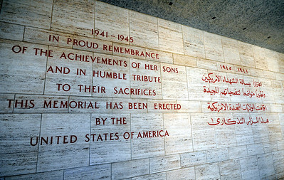 Given the current state of world affairs, it was poignant to see this tribute to America's soldiers inscribed in both English and Arabic.