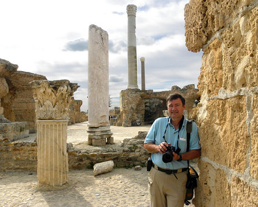 The main floor of the Antonine Baths would have begun on top of the foundation pillar beside me, and its ceiling would have been supported by massive Corinthian columns, only one of which (behind me) remains intact.