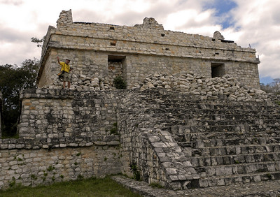 """We were permitted to climb many of the ancient structures.  This is one of two identical buildings called """"Las Gemelas"""" (""""The Twins"""").  Once covered with stucco, they are believed to have been elite residences."""